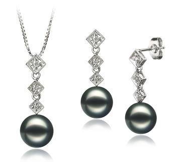 Rozene Noir 8-9mm AAA-qualité Akoya du Japon 585/1000 Or Blanc-un set en perles