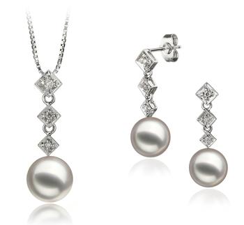 Rozene Blanc 8-9mm AAA-qualité Akoya du Japon 585/1000 Or Blanc-un set en perles
