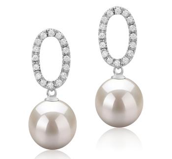 Sabrina Blanc 9-10mm AAAA-qualité perles d'eau douce 925/1000 Argent-Boucles d'oreilles en perles