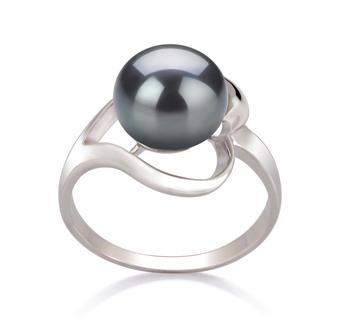 Sadie Noir 9-10mm AA-qualité perles d'eau douce 925/1000 Argent-Bague perles
