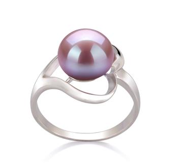 Sadie Lavande 9-10mm AA-qualité perles d'eau douce 925/1000 Argent-Bague perles