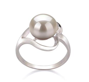 Sadie Blanc 9-10mm AA-qualité perles d'eau douce 925/1000 Argent-Bague perles