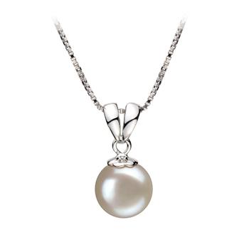 Sally Blanc 9-10mm AA-qualité perles d'eau douce 925/1000 Argent-pendentif en perles