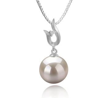 Samantha Blanc 9-10mm AAAA-qualité perles d'eau douce 925/1000 Argent-pendentif en perles