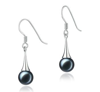 Sandra Noir 7-8mm AA-qualité Akoya du Japon 925/1000 Argent-Boucles d'oreilles en perles