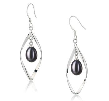 Sandy Noir 7-8mm AA - Drop-qualité perles d'eau douce 925/1000 Argent-Boucles d'oreilles en perles