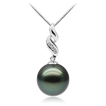 Séduisant Noir 10-10.5mm AAA-qualité de Tahiti 375/1000 Or Blanc-pendentif en perles