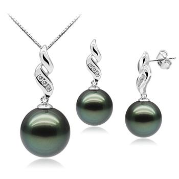 Séduisant Noir 9-11mm AAA-qualité de Tahiti 375/1000 Or Blanc-un set en perles