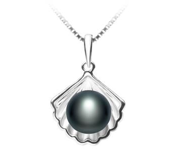 Coquille Noir 7-8mm AA-qualité perles d'eau douce 925/1000 Argent-pendentif en perles