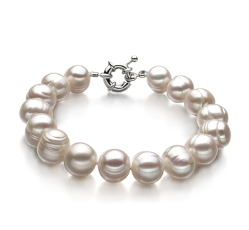 Unique Blanc 10-11mm A-qualité perles d'eau douce -Bracelet de perles