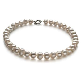 Unique Blanc 10-11mm A-qualité perles d'eau douce -Collier de perles