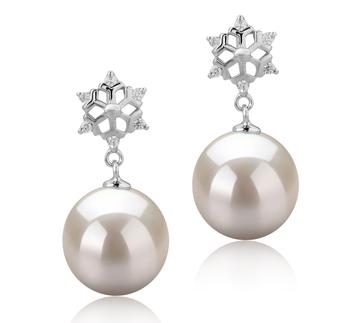Neige Blanc 10-11mm AAAA-qualité perles d'eau douce 925/1000 Argent-Boucles d'oreilles en perles