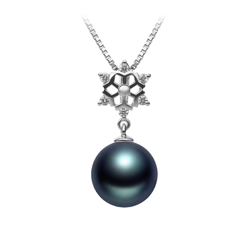 Neige Noir 10-11mm AAA-qualité de Tahiti 925/1000 Argent-pendentif en perles