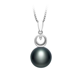 Sonia Noir 9-10mm AA-qualité perles d'eau douce 925/1000 Argent-pendentif en perles