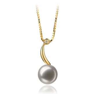 Sora Blanc 8-9mm AAA-qualité Akoya du Japon 585/1000 Or Jaune-pendentif en perles