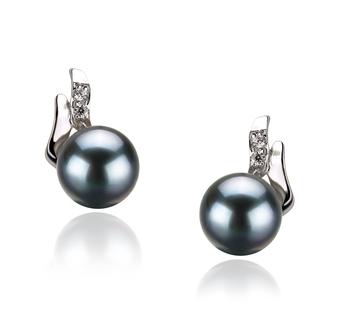 Sydney Noir 6-7mm AA-qualité Akoya du Japon 925/1000 Argent-Boucles d'oreilles en perles
