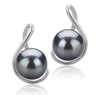 Tamika Noir 6-7mm AAAA-qualité perles d'eau douce 925/1000 Argent-Boucles d'oreilles en perles