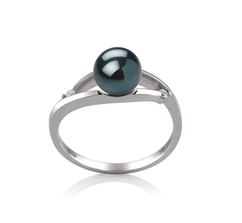 Tanya Noir 6-7mm AA-qualité Akoya du Japon 585/1000 Or Blanc-Bague perles