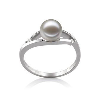 Tanya Blanc 6-7mm AAAA-qualité perles d'eau douce 585/1000 Or Blanc-Bague perles