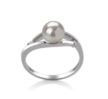 Tanya Blanc 6-7mm AA-qualité Akoya du Japon 585/1000 Or Blanc-Bague perles