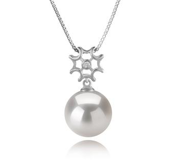 Tatiana Blanc 11-12mm AA+-qualité perles d'eau douce - Edison 925/1000 Argent-pendentif en perles