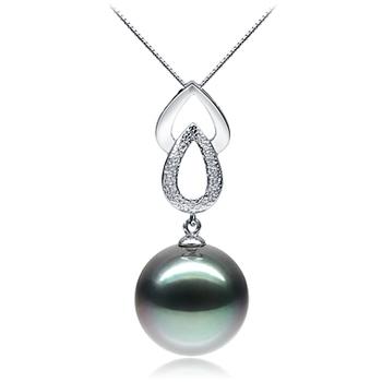 Teardrop Noir 11-12mm AAA-qualité de Tahiti 585/1000 Or Blanc-pendentif en perles