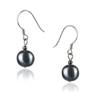 Teresa Noir 8-9mm A-qualité perles d'eau douce 925/1000 Argent-Boucles d'oreilles en perles
