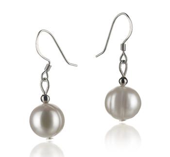 Teresa Blanc 8-9mm A-qualité perles d'eau douce 925/1000 Argent-Boucles d'oreilles en perles