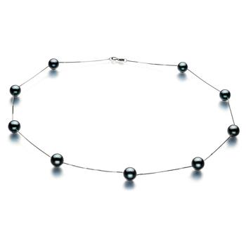 Coupe Noir 7-8mm AAA-qualité Akoya du Japon 585/1000 Or Blanc-Collier de perles