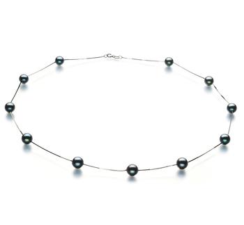 Haley Noir 6-7mm AA-qualité Akoya du Japon 585/1000 Or Blanc-Collier de perles