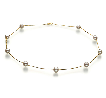 Station Blanc 7-8mm AAA-qualité Akoya du Japon 585/1000 Or Jaune-Collier de perles