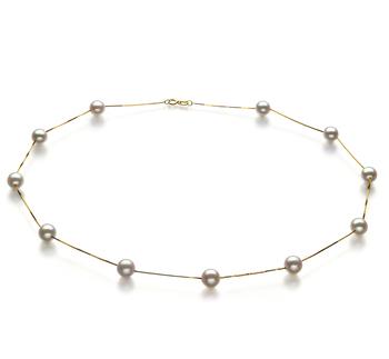 Haley Blanc 6-7mm AA-qualité Akoya du Japon 585/1000 Or Jaune-Collier de perles