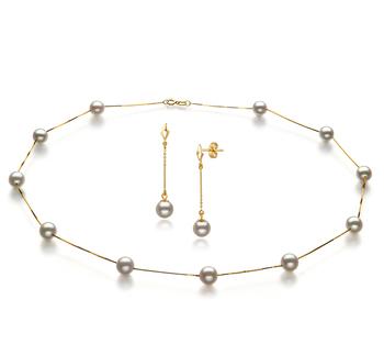 Tin Cup Blanc 6-7mm AA-qualité Akoya du Japon 585/1000 Or Jaune-un set en perles