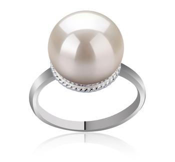 Tindra Blanc 10-11mm AAAA-qualité perles d'eau douce 925/1000 Argent-Bague perles