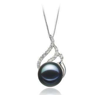 Tracy Noir 12-13mm AA-qualité perles d'eau douce 925/1000 Argent-pendentif en perles
