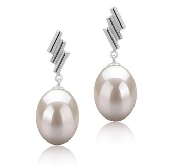 Ursula Blanc 9-10mm AAA-qualité perles d'eau douce 925/1000 Argent-Boucles d'oreilles en perles