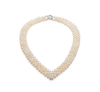 Col en v Blanc 3-4mm AA-qualité perles d'eau douce -Collier de perles