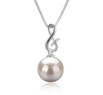 Valena Blanc 9-10mm AAAA-qualité perles d'eau douce 925/1000 Argent-pendentif en perles