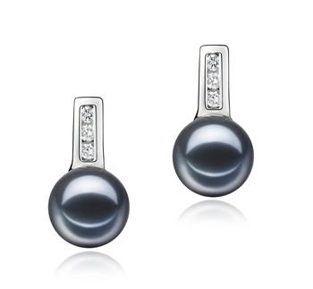 Valery Noir 7-8mm AAAA-qualité perles d'eau douce 925/1000 Argent-Boucles d'oreilles en perles