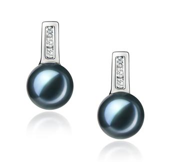 Valery Noir 7-8mm AA-qualité Akoya du Japon 925/1000 Argent-Boucles d'oreilles en perles