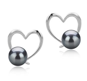 Vanessa Noir 7-8mm AAAA-qualité perles d'eau douce 925/1000 Argent-Boucles d'oreilles en perles