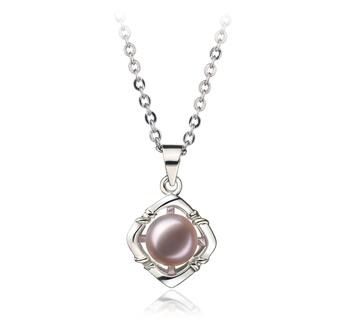 Vera Lavande 6-7mm AA-qualité perles d'eau douce Blanc Bronze-pendentif en perles