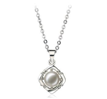 Vera Blanc 6-7mm AA-qualité perles d'eau douce Blanc Bronze-pendentif en perles
