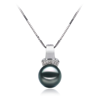 Vivian Noir 8-9mm AAA-qualité Akoya du Japon 585/1000 Or Blanc-pendentif en perles
