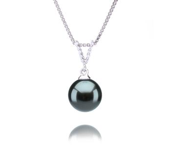 Vondra Noir 9-10mm AAA-qualité de Tahiti 925/1000 Argent-pendentif en perles