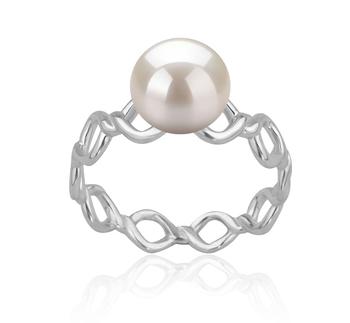 Wave Blanc 7-8mm AAAA-qualité perles d'eau douce 925/1000 Argent-Bague perles