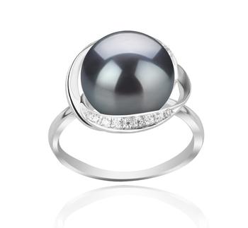 Wendy Noir 11-12mm AAA-qualité perles d'eau douce 925/1000 Argent-Bague perles