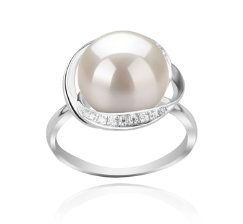 Wendy Blanc 11-12mm AAA-qualité perles d'eau douce 925/1000 Argent-Bague perles