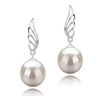 Aile Blanc 9-10mm AAAA-qualité perles d'eau douce 925/1000 Argent-Boucles d'oreilles en perles