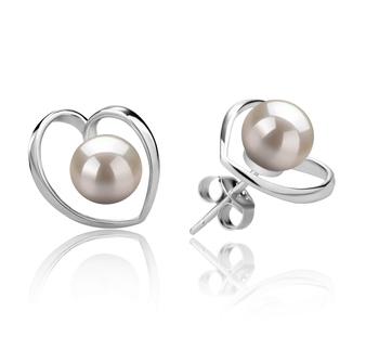 Winna-coeur Blanc 6-7mm AAAA-qualité perles d'eau douce 925/1000 Argent-Boucles d'oreilles en perles